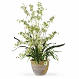 Dancing Lady Silk Orchid Arrangement in Green - Nearly Natural - 1005-GR