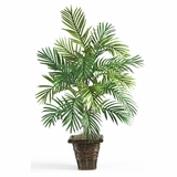Areca Palm with Wicker Basket Silk Plant in Green - Nearly Natural - 6536