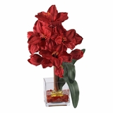 Amaryllis Liquid Illusion Silk Flower Arrangement in Red - Nearly Natural - 1110-RD