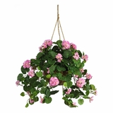 Geranium Hanging Basket Silk Plant in Pink - Nearly Natural - 6609-PK
