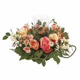 Rose Candleabrum Silk Flower Arrangement in Asst Pastel - Nearly Natural - 4685-AP