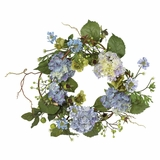 20 Hydrangea Wreath in Blue - Nearly Natural - 4642-BL