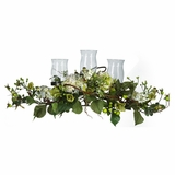 Hydrangea Triple Candleabrum Centerpiece in Cream - Nearly Natural - 4634-CR