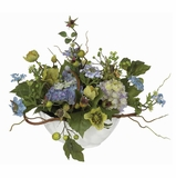 Hydrangea Centerpiece in Blue - Nearly Natural - 4622-BL