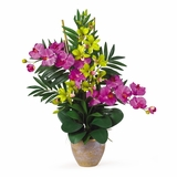 Double Phal / Dendrobium Silk Flower Arrangement in Orchid / Green - Nearly Natural - 1071-OG