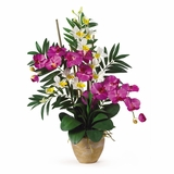Double Phal / Dendrobium Silk Flower Arrangement in Orchid / Cream - Nearly Natural - 1071-OC