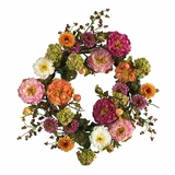 24 Peony Wreath in Mixed - Nearly Natural - 4664