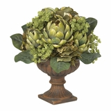 Artichoke Centerpiece Silk Flower Arrangement in Green - Nearly Natural - 4635