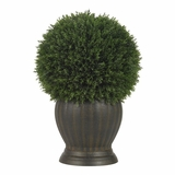 Cedar Ball Topiary Silk Plant in Green - Nearly Natural - 4123
