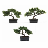 12 Bonsai Silk Plant Collection (Set of 3) in Green - Nearly Natural - 4121