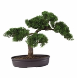 16 Cedar Bonsai Silk Plant in Green - Nearly Natural - 4106