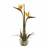 Bird of Paradise Liquid Illusion Silk Arrangement in Orange - Nearly Natural - 1052