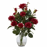 Rose Bush with Vase Silk Flower Arrangement - Nearly Natural - 1281-RD