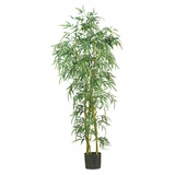 6' Fancy Style Slim Bamboo Silk Tree in Green - Nearly Natural - 5193