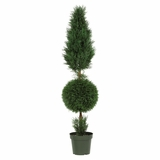 5' Cypress Ball and Cone Silk Tree in Green - Nearly Natural - 5168