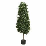 5' Sweet Bay Pyramid Silk Tree in Green - Nearly Natural - 5243