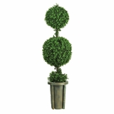 5' Double Ball Leucodendron Topiary with Decorative Vase in Green - Nearly Natural - 5221