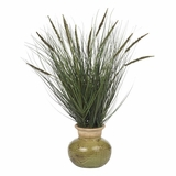 27 Grass with Mini Cattails Silk Plant in Green - Nearly Natural - 4730