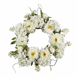 20 Peony Hydrangea Wreath in White - Nearly Natural - 4690