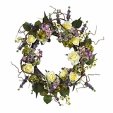 24 Hydrangea Rose Wreath in Mixed - Nearly Natural - 4673