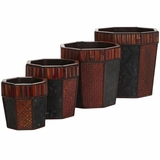 Bamboo Octagon Decorative Planters (Set of 4) - Nearly Natural - 0515