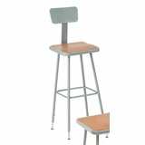 Lab Stool - 31-39 Adjustable Stool with Backrest - National Public Seating - 6330HB