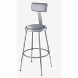 Lab Stool - 19-27 Adjustable Stool with Padded Seat and Backrest - National Public Seating - 6418HB
