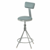 Lab Stool - 24-28 Adjustable Premium Swivel Stool with Backrest - National Public Seating - 6524HB