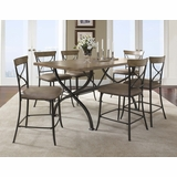 Charleston 7-Piece Counter Height Rectangle Wood Dining Set with X Back Stools - Hillsdale Furniture - 4670CTBRS27