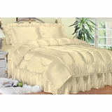 Cal King Comforter Set - Charmeuse Satin 4-Piece in Bone - 450CK2BONE