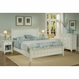Arts and Crafts Queen Size Bed, Night Stand, and Drawer Chest in White - Home Styles - 5182-5018