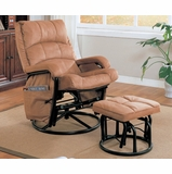 Glider Rocker with Ottoman in Tan Microfiber / Black Frame - Coaster