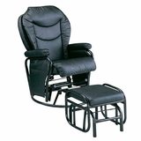Black Pvc Recliner and Ottoman - Alberto - 08154