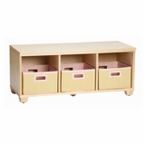 Storage Bench with Pink Storage Baskets in Natural - Links - Alaterre - AB31012PIN