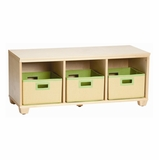 Storage Bench with Lime Storage Baskets in Natural - Links - Alaterre - AB31012LIM