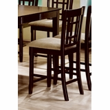 24 Inch Bar Stool with Wheat Back Design (Set of 2) in Cappuccino - Coaster