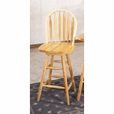 24 Inch Arrow Back Windsor Bar Stool with Swivel Seat in Natural - Coaster