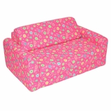 Foam Furniture Kids Sofa Sleeper Twin 38 in Pink Flower - 32-4200-824