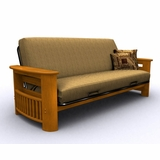 Futon Frame - Portofino Full Size Metal Wood Futon in Honey Oak - 35-0814-010