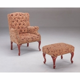 Button Tufted Wing Chair with Ottoman - Coaster