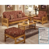 Futon Furniture Set in Golden Oak - Bridgeport - FSET-8