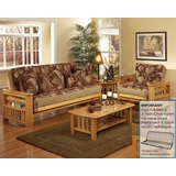 Futon Furniture Set in Golden Oak - Portofino - FSET-1
