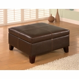 Storage Ottoman in Dark Brown Leather-like Vinyl - Coaster