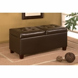 Storage Ottoman in Dark Brown Leather-like Vinyl - Coaster - COAST-15010391