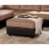 Ottoman in Brown Microfiber - Coaster
