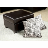 Espresso Bycast Ottoman with 2 Pillows - Vogue - 05909