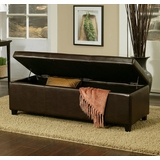 Frankfurt Leather Storage Ottoman in Dark Brown - Abbyson Living - HS-OT-001
