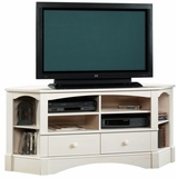 Harbor View Corner Entertainment Credenza Antiqued White - Sauder Furniture - 402905