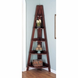 Corner Bookshelf in Rich Mahogany - Coaster