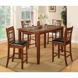 5-Piece Counter Height Table Set in Cherry - Coaster - 102188-9-DSET